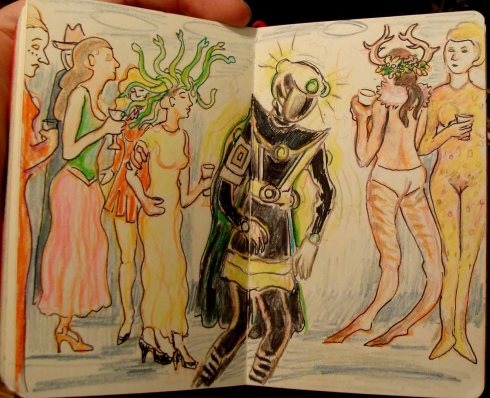 Costume Party (Wayne Ferrebee, 2015 colored pencil and ink)