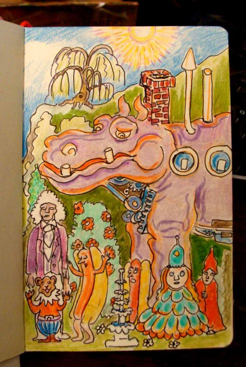 In the Realm of the Mech Hippo (Wayne Ferrebee, 2015 colored pencil and ink)