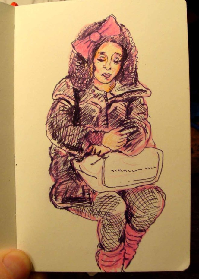 Traveler with Smart Phone (Wayne Ferrebee, 2015 colored pencil and ink)