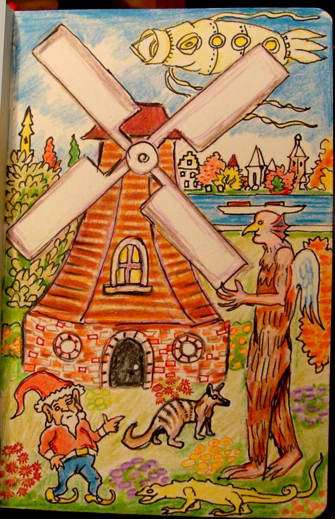 Toy Windmill Plan (Wayne Ferrebee, 2015 colored pencil and ink)