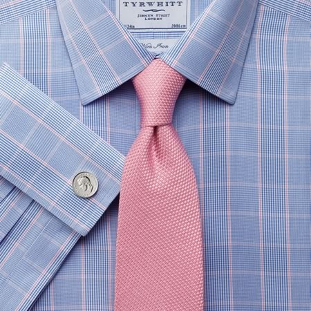 Charles-Trywhitt-Blue-pink-Prince-of-Wales-check-classic-collar-shirt