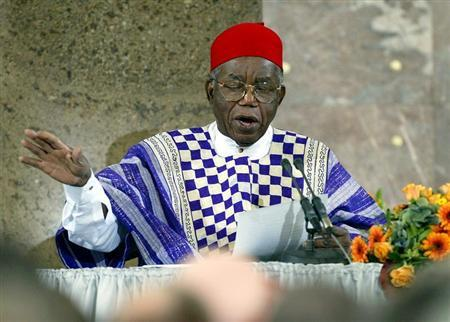 Nigerian author Chinua Achebe, who received this year's Peace Prize from the Association of Publishe..