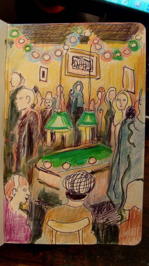 Bar in Alphabet City (Wayne Ferrebee, 2015, colored pencil and ink)