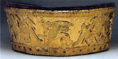Gold Headdress-The Arimaspi Fighting Griffins Calathos -Greek work-Second half of the 4th century BC