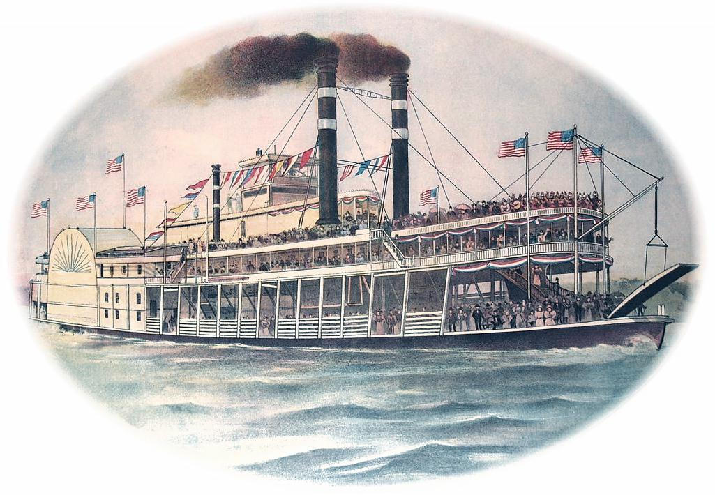 Steamboat Color Litho Oval Color Cooled Down