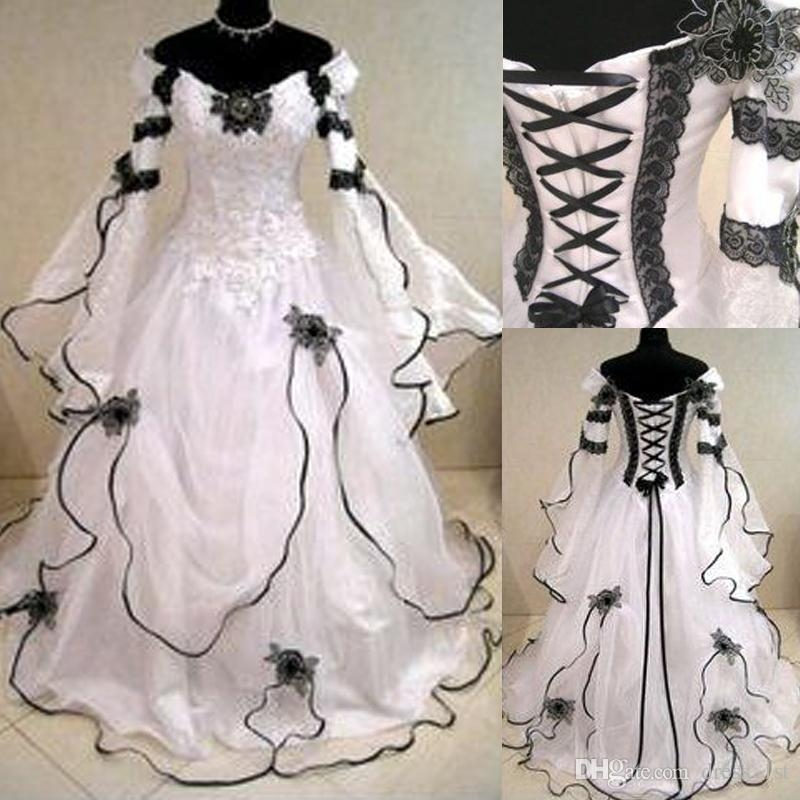 discount vintage 2019 gothic black and white wedding dresses cheap off shoulder julie long sleeves appliqued lace organza victorian bridal gowns Black And White Lace Wedding Dresses